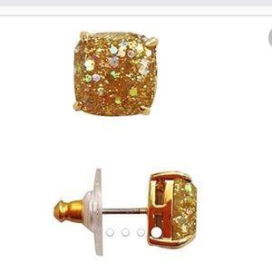Kate Spade Square Gold Glitter Stud Earrings